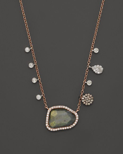 Meira T | Pink Diamond And Labradorite Necklace In 14k Rose Gold, 16"