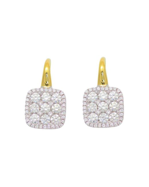 Frederic Sage - Multicolor Diamond Medium Firenze Cushion Earrings In 18k Yellow & White Gold - Lyst