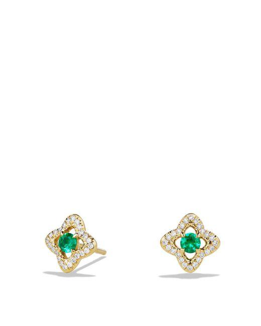 David Yurman   Green Venetian Quatrefoil Earrings With Emeralds And Diamonds In 18k Gold   Lyst