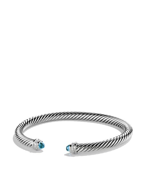 David Yurman | Cable Classics Bracelet With Blue Topaz & Diamonds | Lyst