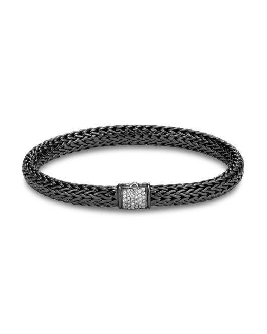 John Hardy | Metallic Blackened Sterling Silver Classic Chain Pavé Diamond Bracelet for Men | Lyst
