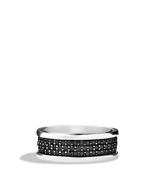 David Yurman | Metallic Streamline Three-row Band Ring With Black Diamonds | Lyst