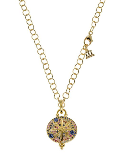 Temple St. Clair - Blue 18k Yellow Gold Sorcerer Pendant With Mixed Sapphires - Lyst