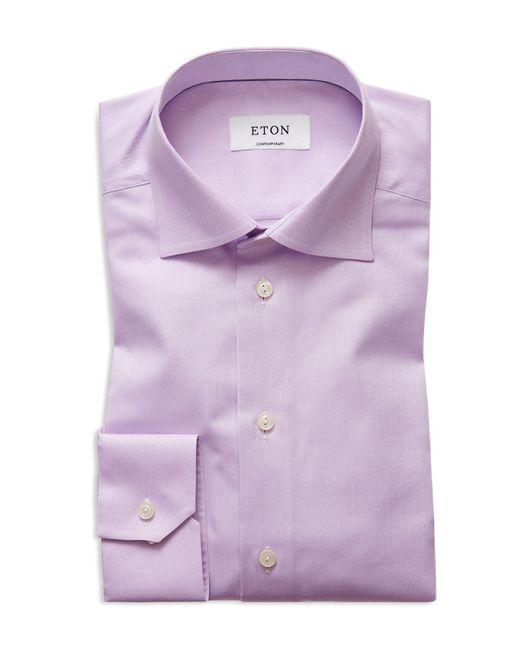 Eton of Sweden | Purple Herringbone Solid Regular Fit Dress Shirt for Men | Lyst