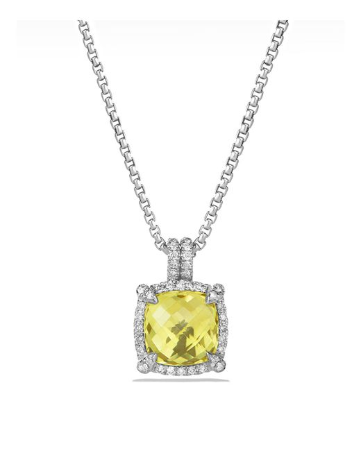 David Yurman | Metallic Châtelaine Pavé Bezel Pendant Necklace With Lemon Citrine And Diamonds | Lyst
