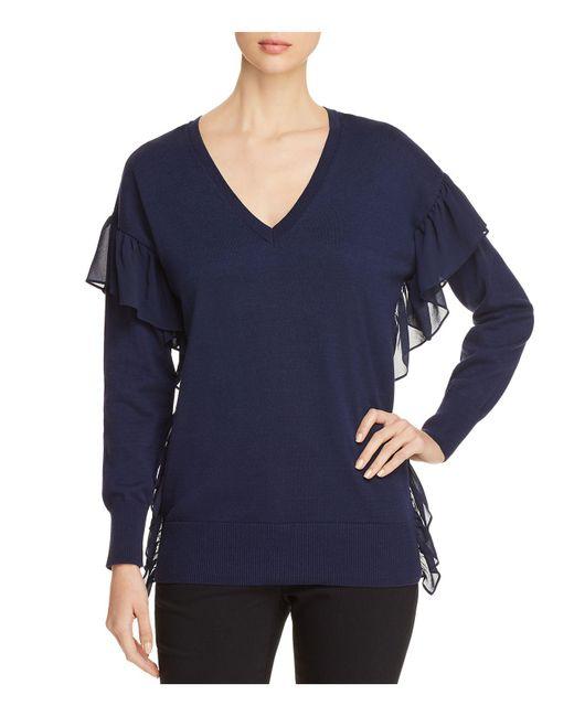 MICHAEL Michael Kors | Blue Woven-ruffle V-neck Sweater | Lyst