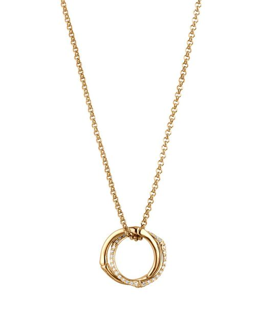 """John Hardy   Metallic Bamboo Small Interlinking Pave Ring Pendant Necklace In 18k Yellow Gold, 16""""   Lyst"""