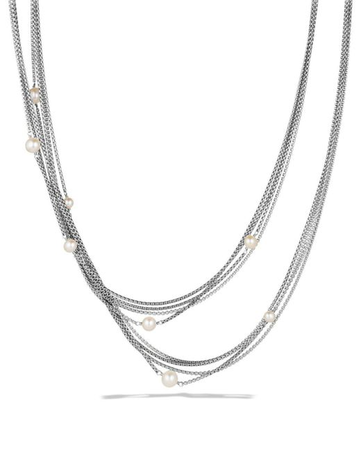David Yurman - Metallic Four-row Chain Necklace With Pearls - Lyst