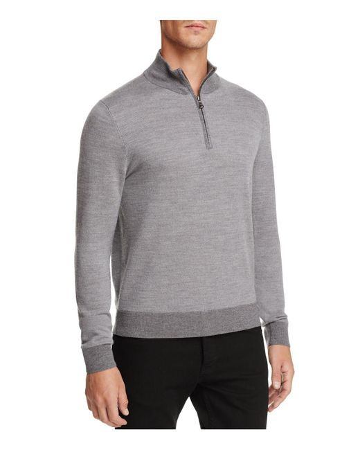 Brooks Brothers | Gray Birdseye Half-zip Sweater for Men | Lyst