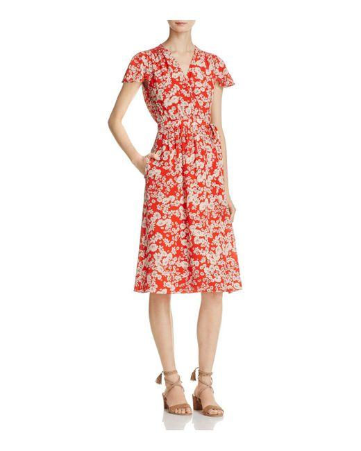 Rebecca Taylor   Red Cherry Blossom Silk Wrap Dress   Lyst