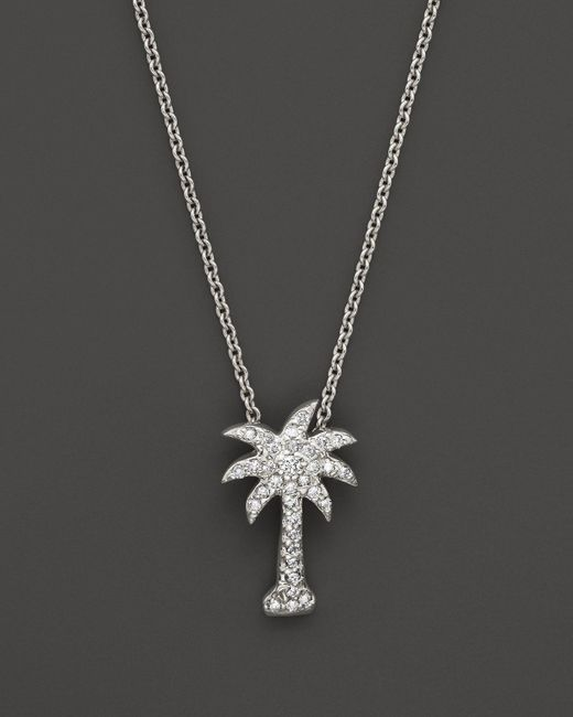 KC Designs   Metallic Diamond Palm Tree Pendant In 14k White Gold, .2 Ct. T.w.   Lyst