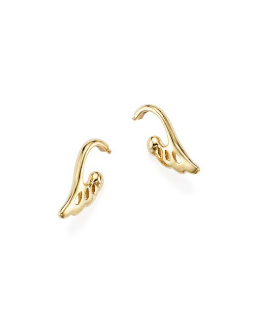 Temple St. Clair - Metallic 18k Yellow Gold Wing Drop Earrings - Lyst