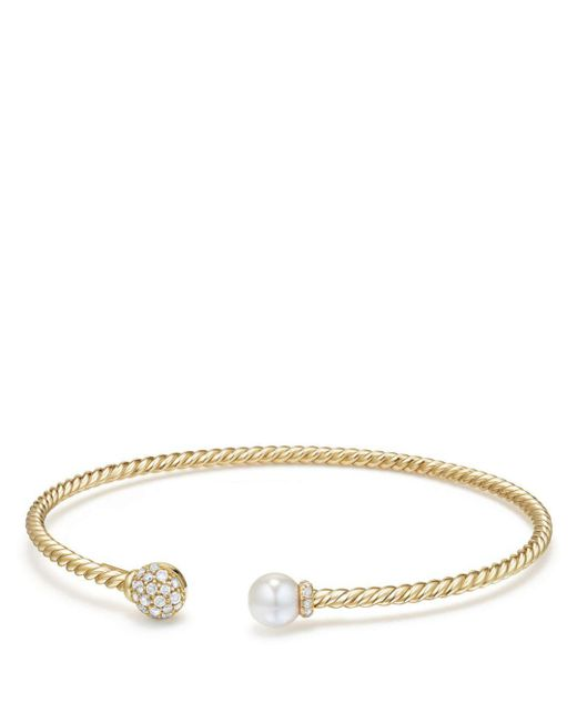 David Yurman - Metallic Solari Bead & Cultured Akoya Pearl Bracelet With Diamonds In 18k Gold - Lyst