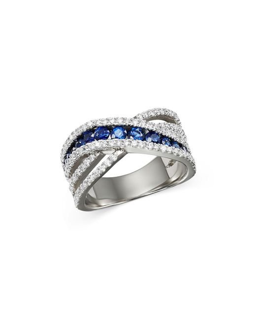 Bloomingdale's - Multicolor Sapphire & Diamond Crossover Ring In 14k White Gold - Lyst