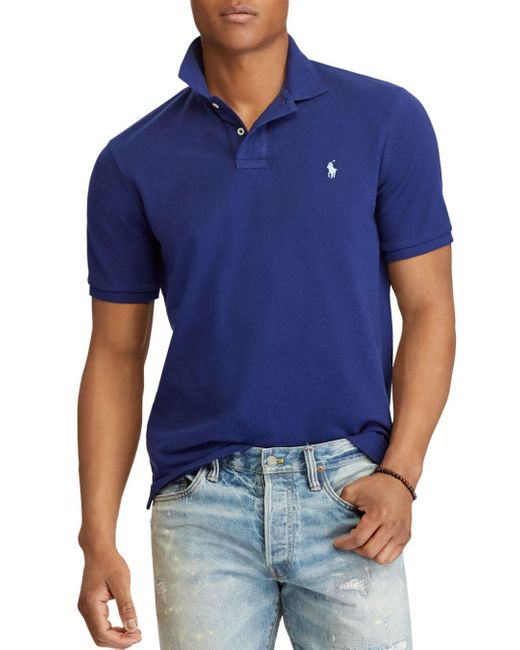 Polo Ralph Lauren - Blue Custom Slim Fit Mesh Short Sleeve Polo Shirt for Men - Lyst