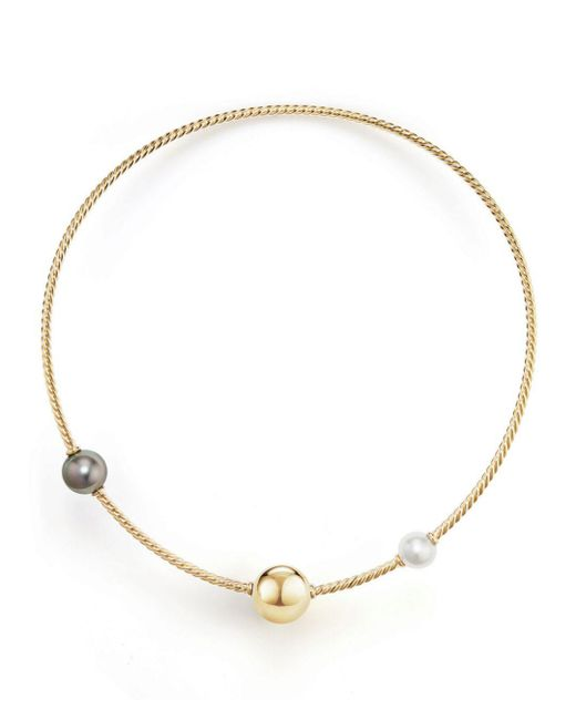 David Yurman - Metallic Solari Single Row Cable Necklace With Tahitian Gray Pearl And South Sea White Pearl In 18k Gold - Lyst