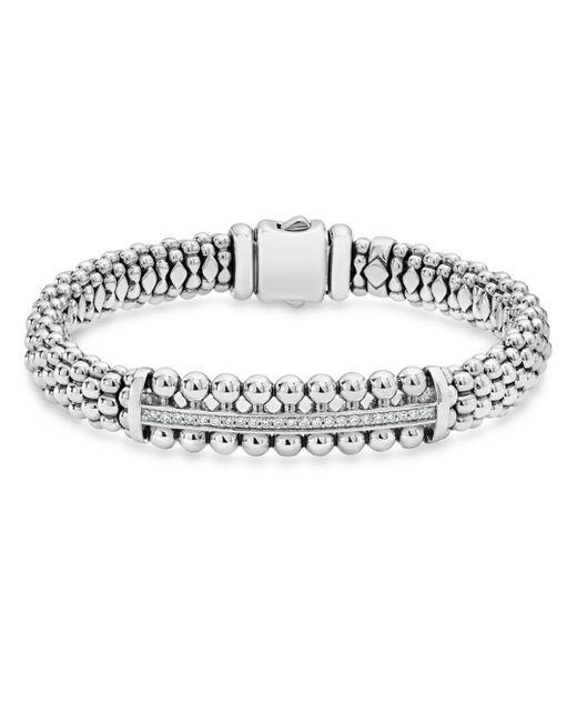 Lagos - Metallic Sterling Silver Caviar Spark Diamond Bar Bracelet - Lyst