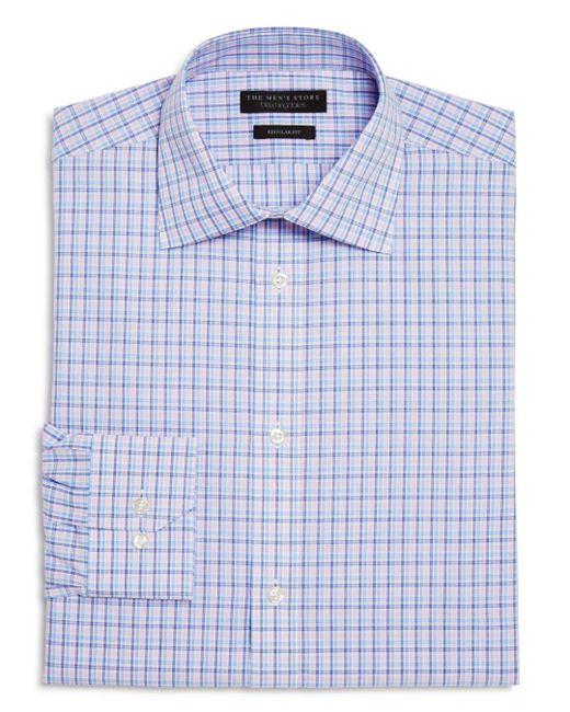 Bloomingdale's - Blue Overcheck Regular Fit Dress Shirt for Men - Lyst