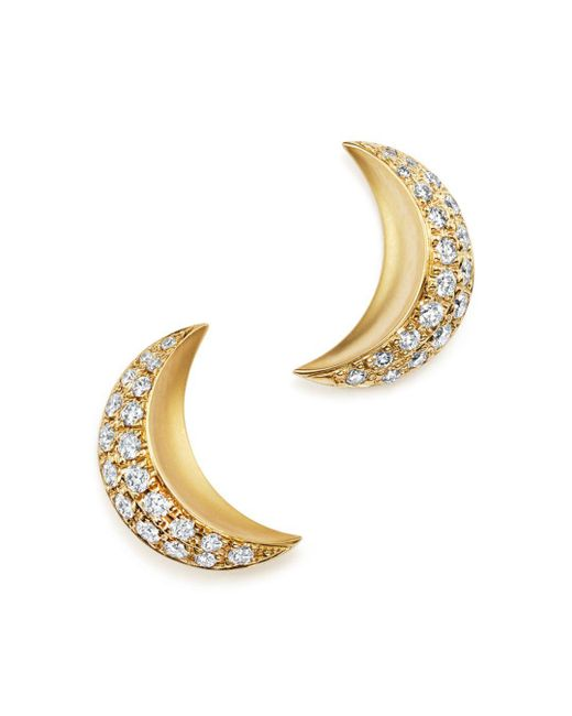 Temple St. Clair - Metallic 18k Yellow Gold Cresent Moon Earrings With Pavé Diamonds - Lyst