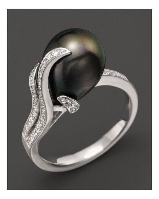 Tara Pearls - Black Diamond And Tahitian Cultured Pearl Ring - Lyst
