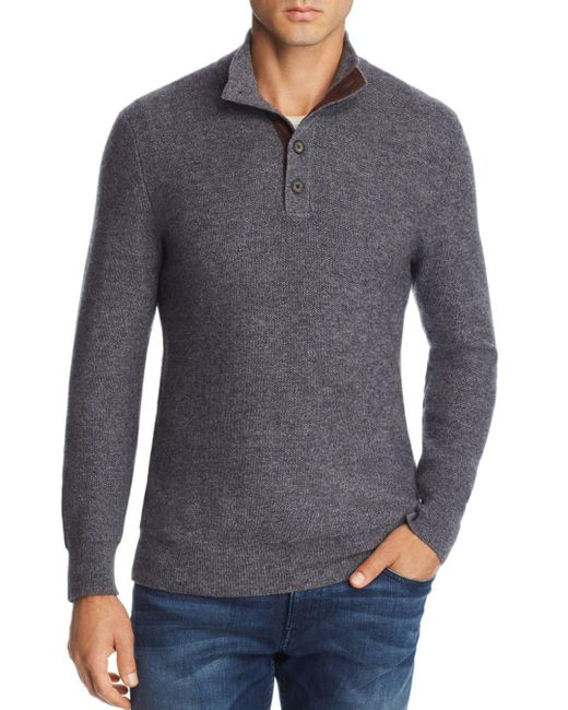 Bloomingdale's - Gray Suede-trimmed Pullover Sweater for Men - Lyst