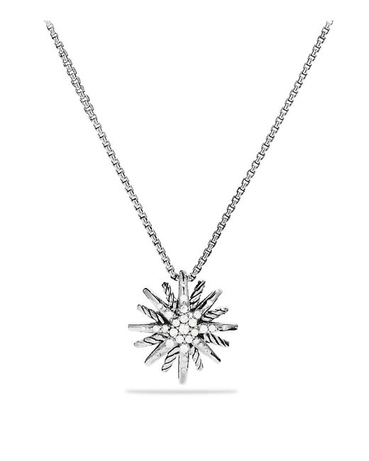 David Yurman | Metallic Starburst Small Pendant With Diamonds On Chain | Lyst