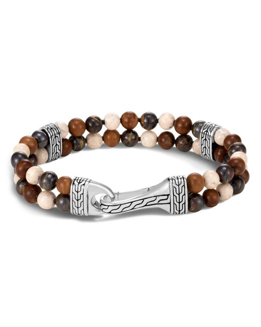 John Hardy - Metallic Riverstone & Kokka Wood Bead Bracelet - Lyst