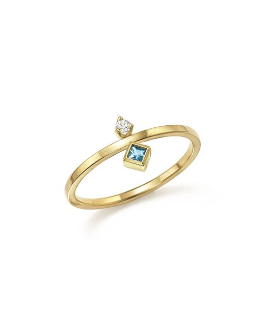 Zoe Chicco | Metallic 14k Yellow Gold Wire Ring With Stacked Aquamarine And Diamond | Lyst