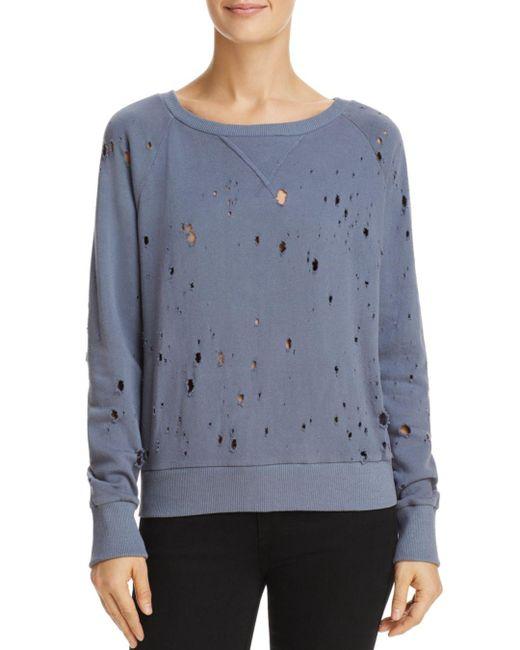 LNA - Blue Distressed Sweatshirt - Lyst