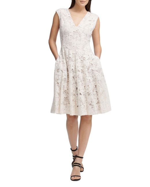 Donna Karan - Multicolor New York Fit-and-flare Lace Dress - Lyst