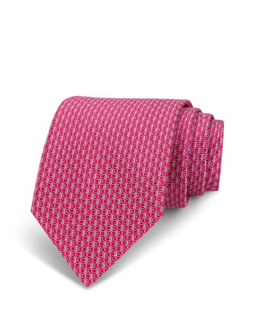 Bloomingdale's - Red Neat Linked-circle Silk Classic Tie for Men - Lyst