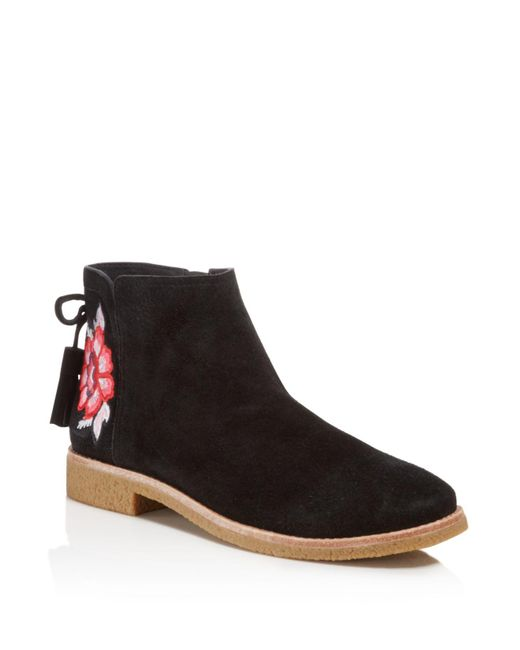 Kate Spade | Black Bellville Embroidered Suede Booties | Lyst