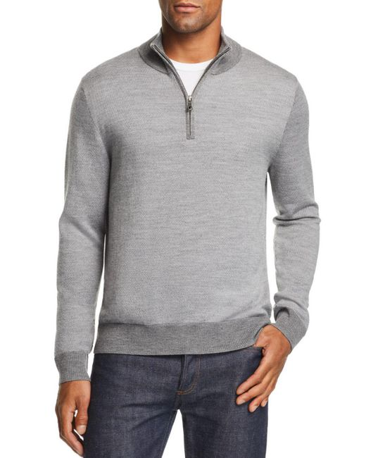Brooks Brothers - Gray Birdseye Half Zip Sweater for Men - Lyst