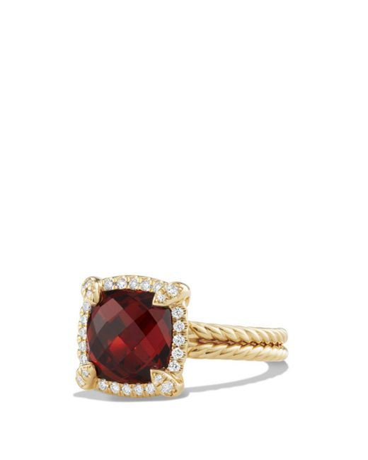 David Yurman - Multicolor Châtelaine Pavé Bezel Ring With Garnet And Diamonds In 18k Gold - Lyst