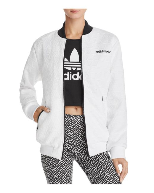 Adidas Originals | White Bomber Jacket | Lyst
