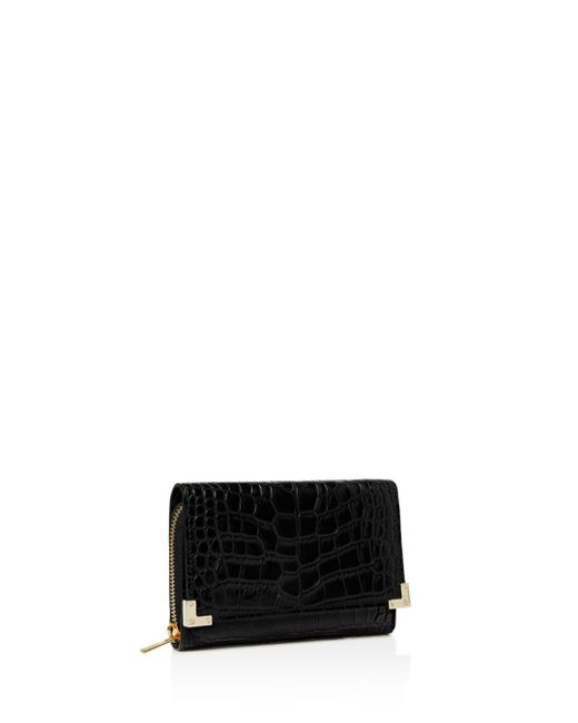 The Kooples - Black Croc-embossed Leather Wallet - Lyst