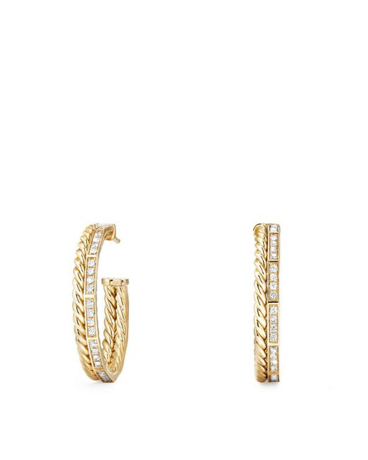 David Yurman - Metallic Stax Hoop Earrings With Diamonds In 18k Gold - Lyst