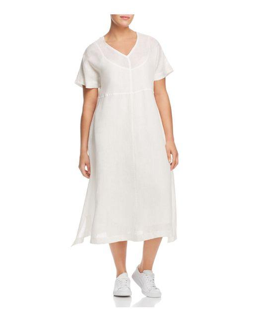 Marina Rinaldi - White Dedicare Button-detail Midi Dress - Lyst