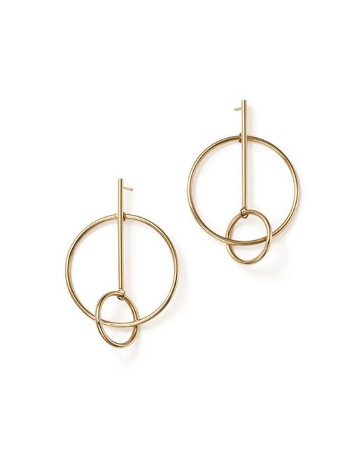 Bloomingdale's - Metallic 14k Yellow Gold Stick And Circle Drop Earrings - Lyst