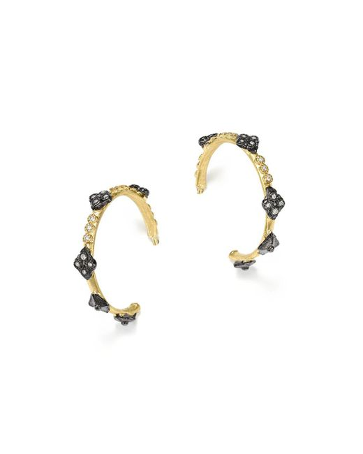 Armenta - Metallic Blackened Sterling Silver And 18k Yellow Gold Old World Cravelli Cross Diamond Hoop Earrings - Lyst