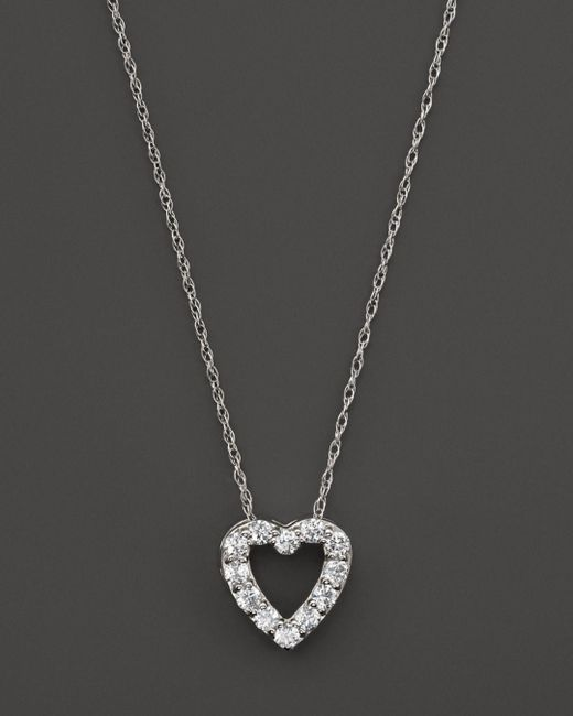 Bloomingdale's - Diamond Heart Pendant Necklace In 14k White Gold, .25 Ct. T.w. - Lyst