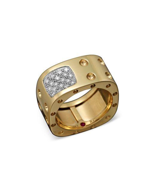 Roberto Coin | Metallic 18k Yellow Gold Pois Moi Diamond Double Row Square Ring for Men | Lyst