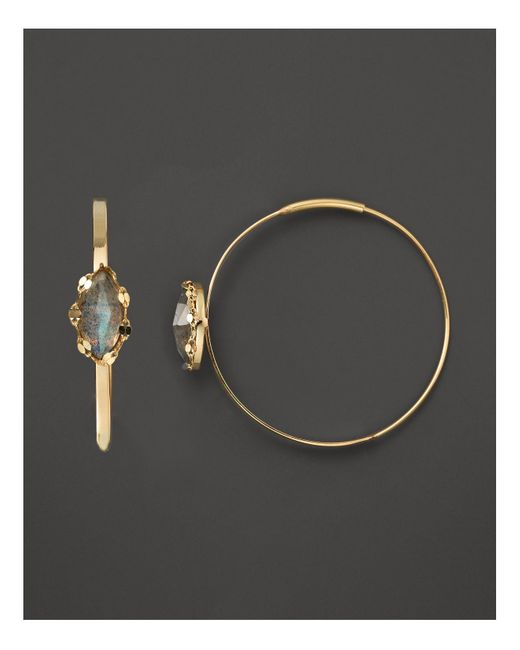 Lana Jewelry | 14k Yellow Gold Small Flat Magic Hoop Earrings With Labrodorite | Lyst
