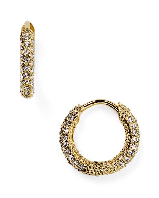 Nadri | Metallic Pavé Huggie Hoop Earrings | Lyst