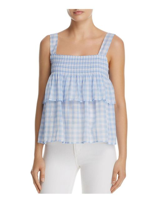 Rebecca Minkoff | Blue Coral Tiered Gingham Top | Lyst