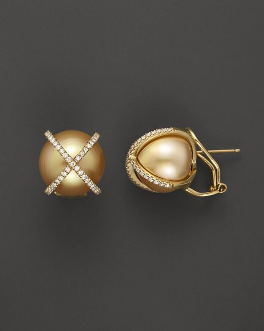 Tara Pearls | Metallic X's & O's 18k Yellow Gold Diamond And Cultured Gold South Sea Pearl Earrings, 14mm | Lyst