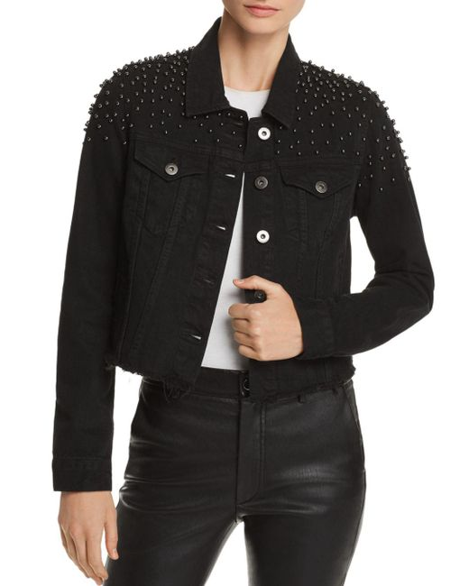 Pistola - Black Brando Beaded Cropped Denim Jacket - Lyst