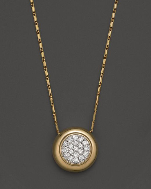 Bloomingdale's - Metallic Diamond Pavé Pendant Necklace In 14k Yellow Gold, .25 Ct. T.w. - Lyst