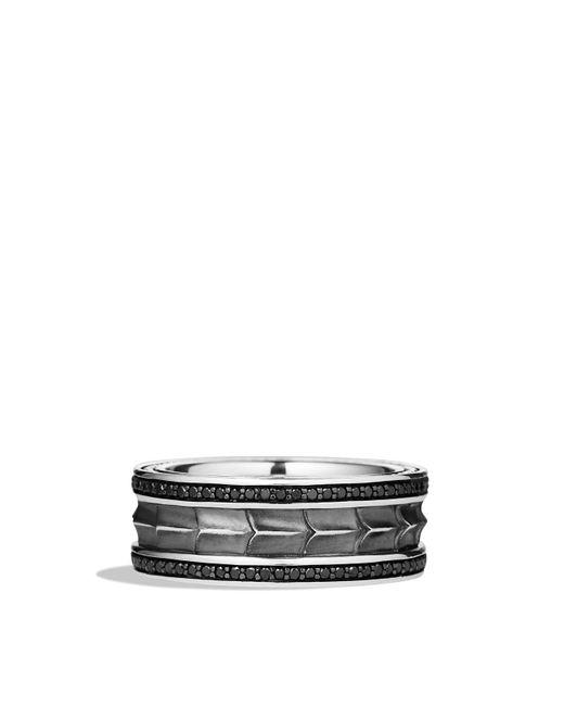 David Yurman | Metallic Armory Narrow Band Ring With Black Diamonds for Men | Lyst