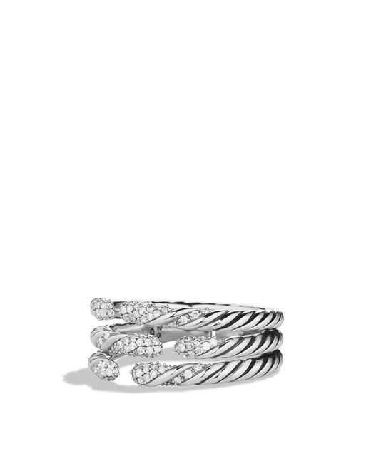 David Yurman | Metallic Willow Three-row Ring With Diamonds | Lyst